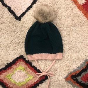 H&M Green Knit Hat w/ Pink Trim + Faux Fur Pompom